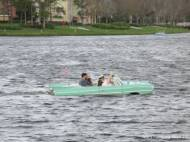 The passengers in this amphibi-car had it riding low in the water.