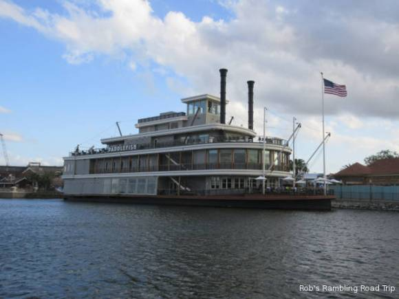Newly updated riverboat now called the Paddle wheel restaurant.